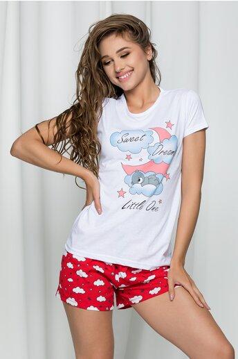 Pijama Sweet Dreams cu tricou alb si pantaloni scurti rosii cu imprimeu