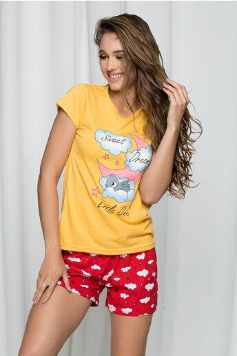Pijama Sweet Dreams cu tricou gaben si pantaloni scurti rosii cu imprimeu