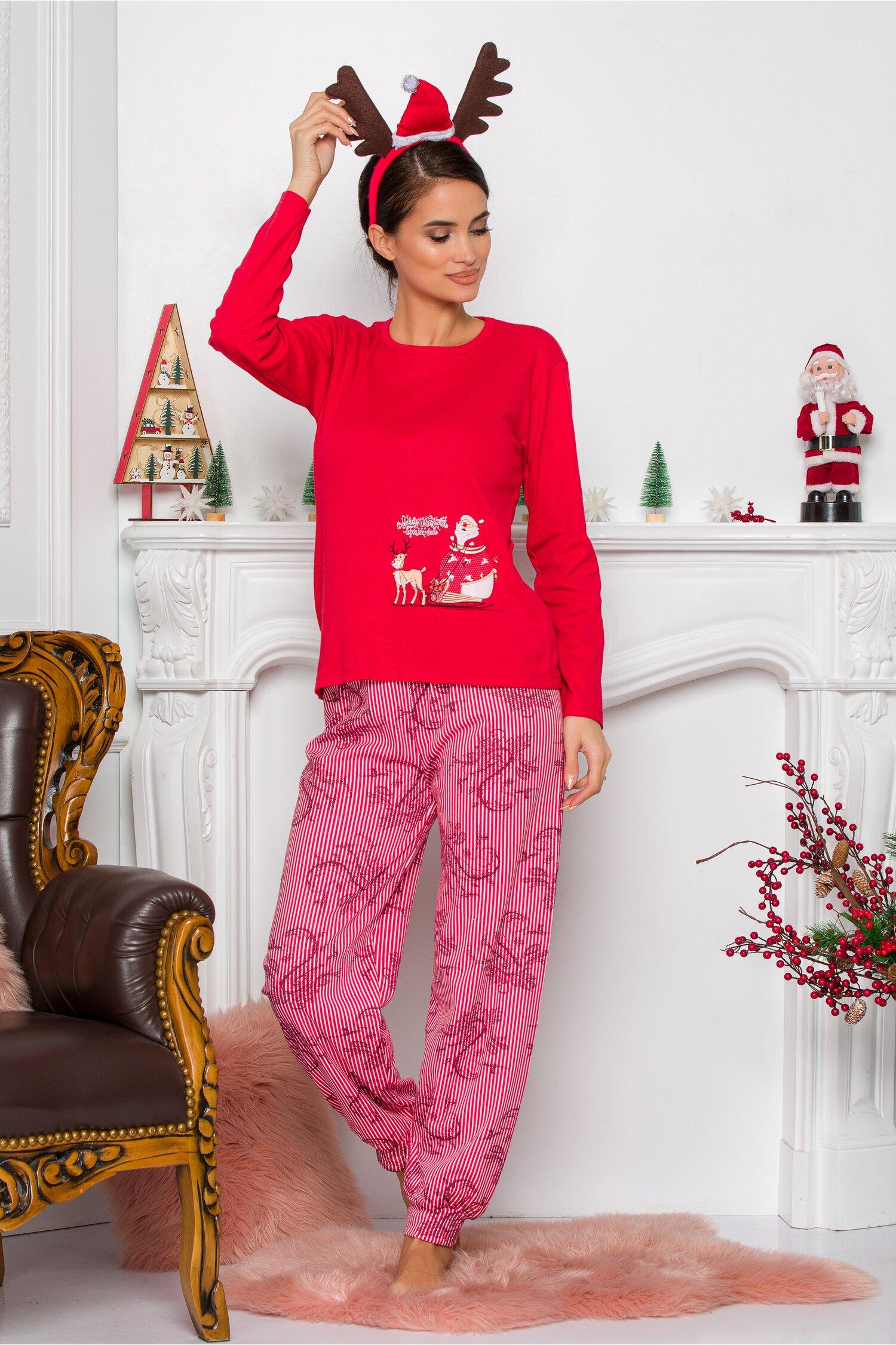 Pijama Sweety rosu cu Mos Craciun Idei Cadouri de Craciun Online