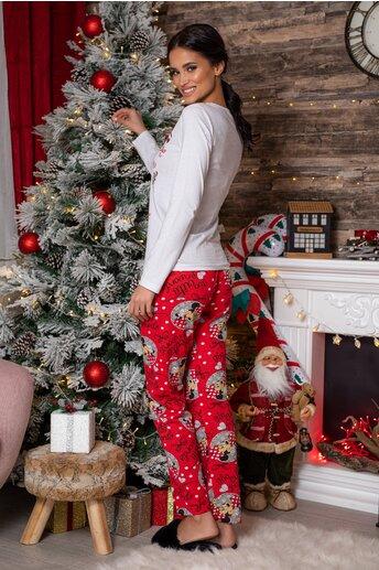 Pijama Too Cute cu bluza alba si pantaloni rosi cu imprimeu