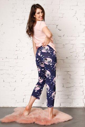 Pijama Too Cute cu pantaloni bleumarin si tricou somon