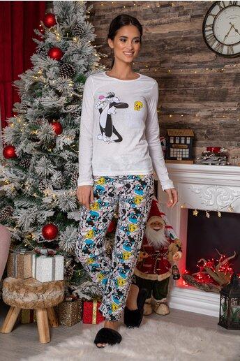 Pijama Tweety alba cu imprimeu