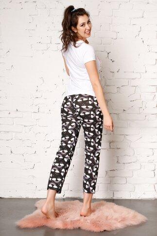 Pijama Unicorn cu pantaloni negri si imprimeu