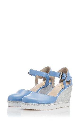 Platforme Lexy bleu cu inchidere la glezna