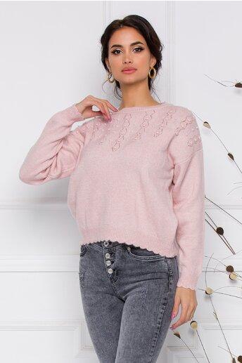 Pulover Daria roz cu perlute
