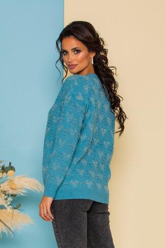Pulover Dori bleu cu insertii din fir lurex