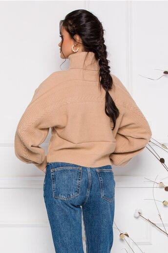Pulover Dory scurt bej din tricot cu guler inalt