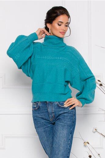 Pulover Dory scurt turcoaz din tricot cu guler inalt