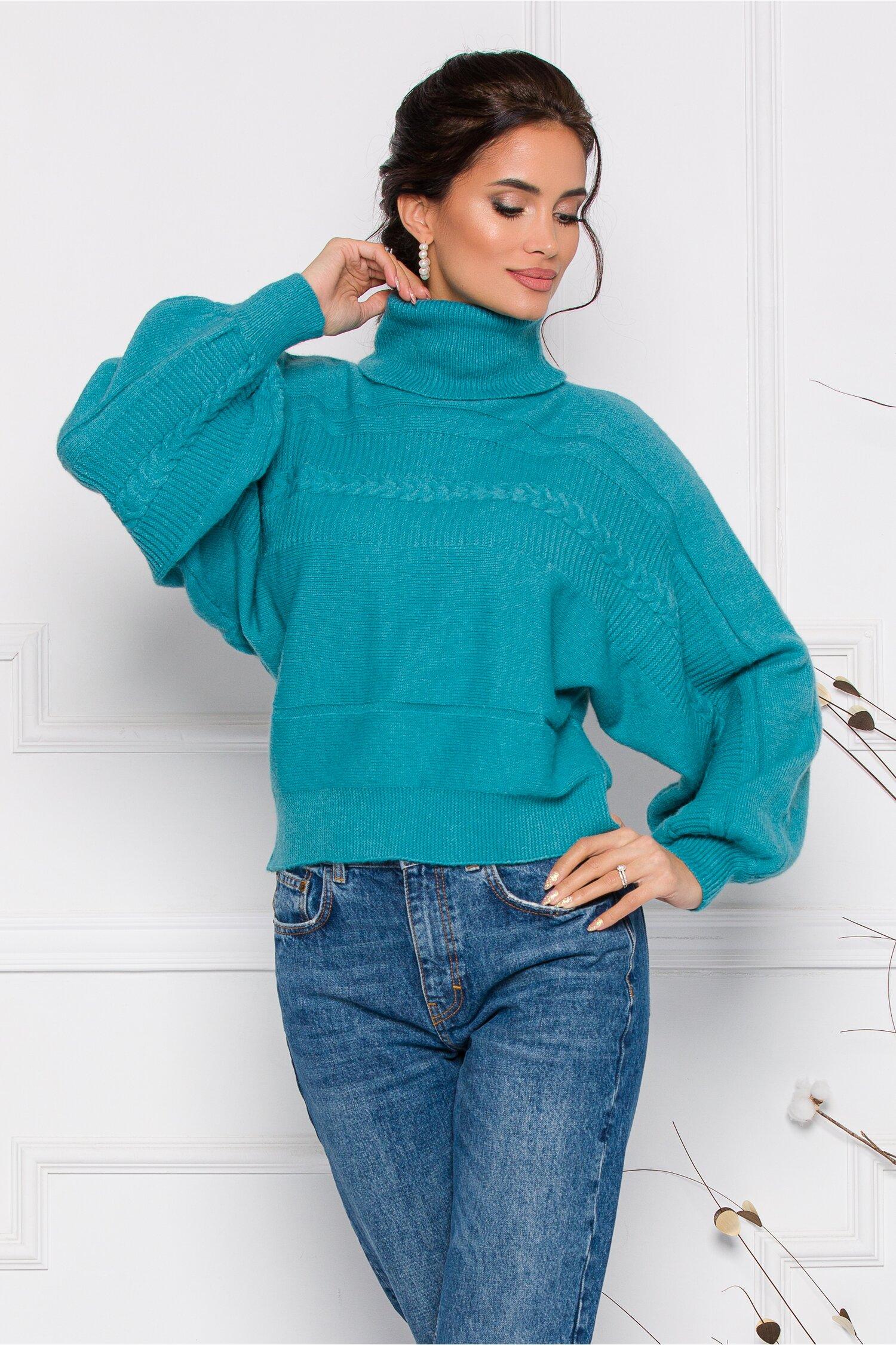 Pulover Dory scurt turcoaz din tricot cu guler inalt imagine