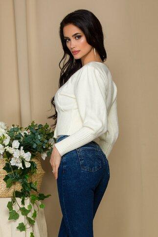 Pulover Ioana ivoire cu broderie florala