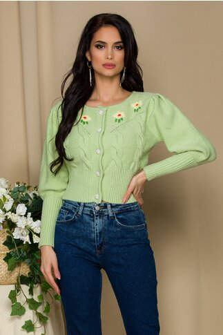 Pulover Ioana verde fistic cu broderie florala