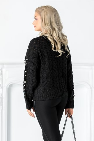 Pulover negru tricotat cu perlute