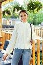 Pulover Sandra alb cu peplum in talie
