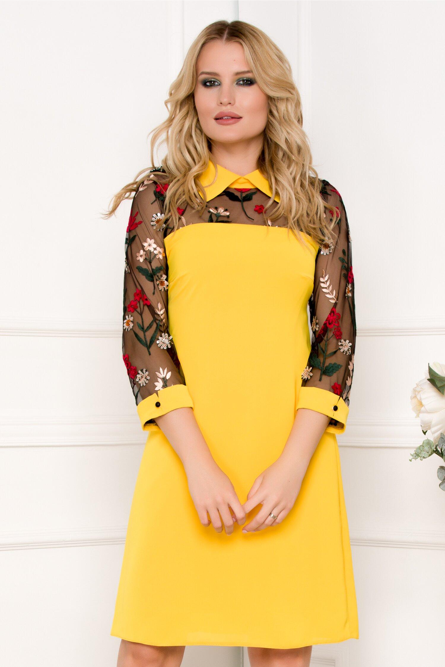 Rochie Moze galbena cu insertii din tull si broderie florala cu paiete