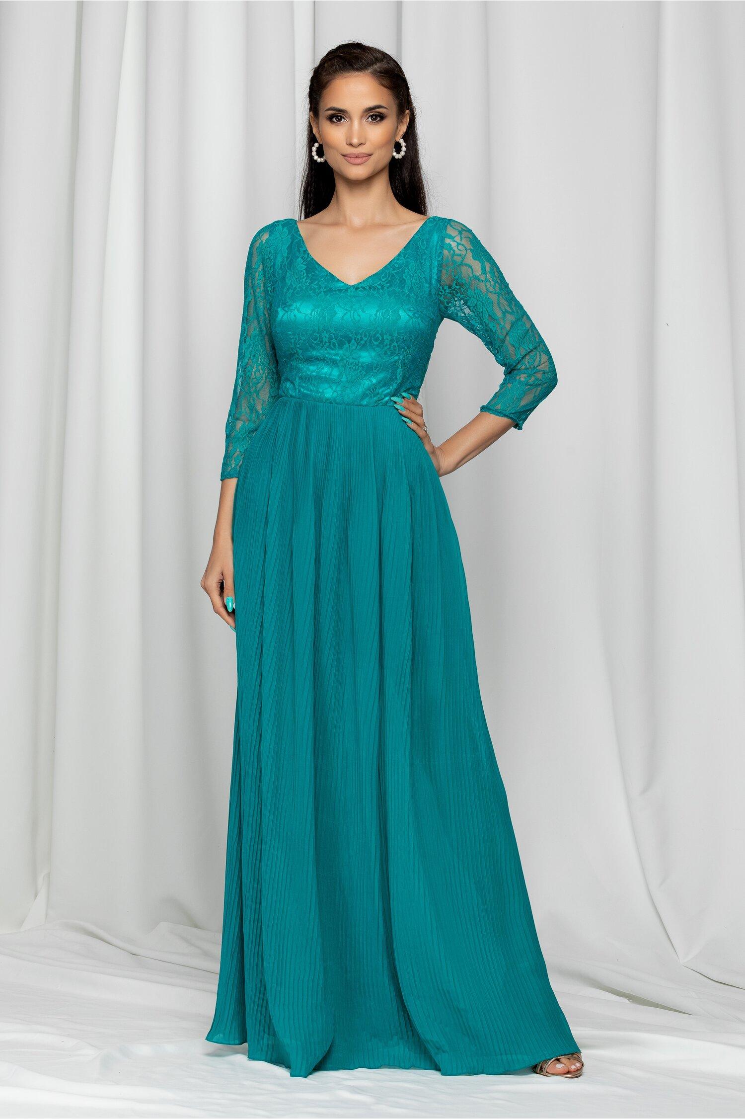 Rochia Eleonora verde cu dantela si maneci trei sferturi
