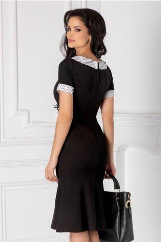 Rochia Natalia neagra cu guler si mansete albe cu buline