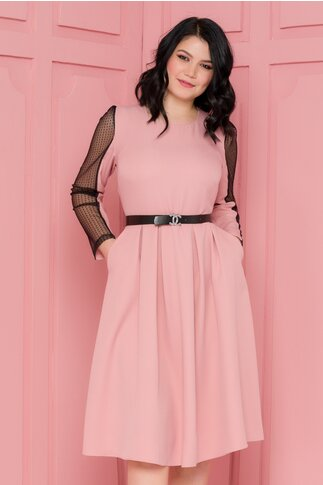 Rochia Olimpia roz cu buzunare si dantela pe maneci