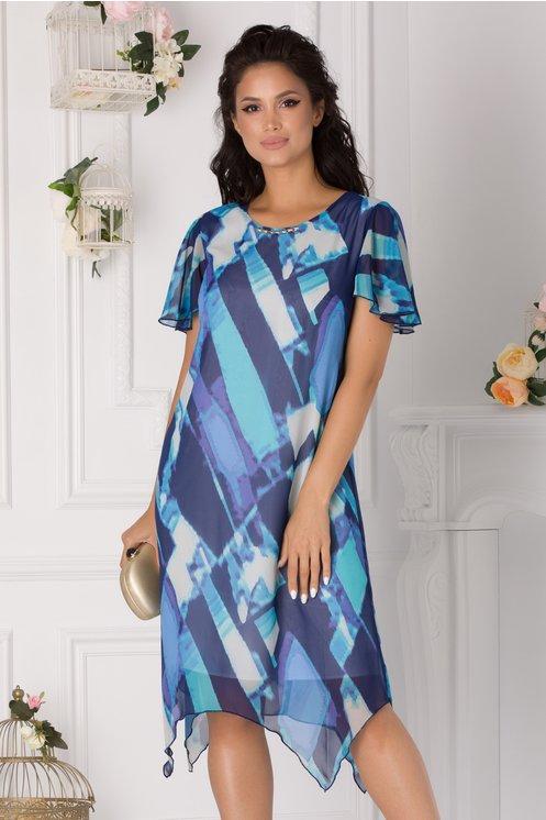 Rochia Ravy asimetrica cu imprimeu in nuante de albastru