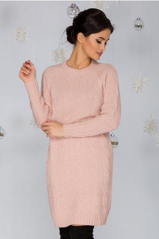 Rochia Tania roz tricotata cu model impletit