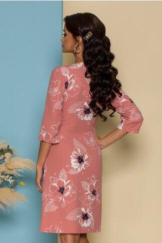 Rochie Abbi petrecuta roz cu imprimeuri florale