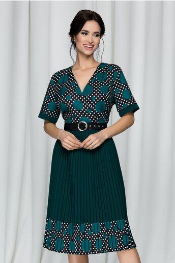 Rochie Abigail verde cu buline si pliuri pe fusta