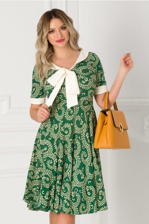 Rochie Adalia verde cu imprimeu bej si guler tip esarfa