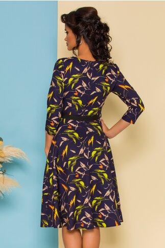Rochie Ade clos bleumarin cu frunze in nuante tomnatice si cordon in talie
