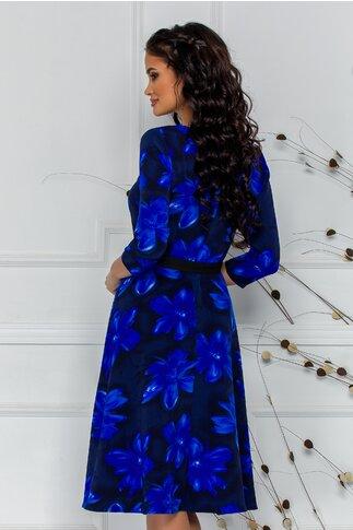 Rochie Ade clos bleumarin cu imprimeu floral albastru si cordon in talie