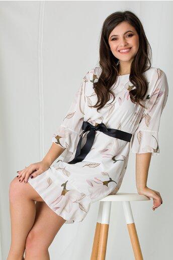 Rochie Adela alba cu imprimeuri florale ivory