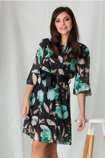 Rochie Adela neagra cu imprimeuri florale verzi