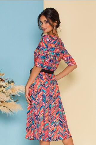 Rochie Adela orange cu dungi multicolore