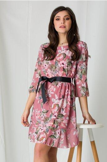 Rochie Adela roz coniac cu imprimeuri florale