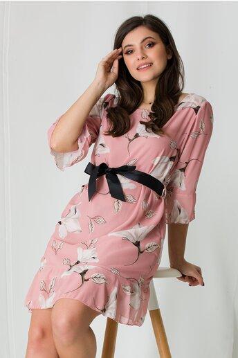 Rochie Adela roz cu imprimeuri florale maxi