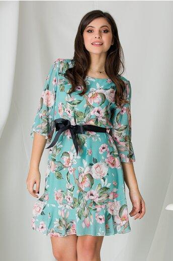 Rochie Adela verde mint cu imprimeuri florale roz