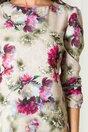Rochie Adelia bej cu imprimeu floral fucsia