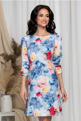 Rochie Adelia bleu cu trandafiri