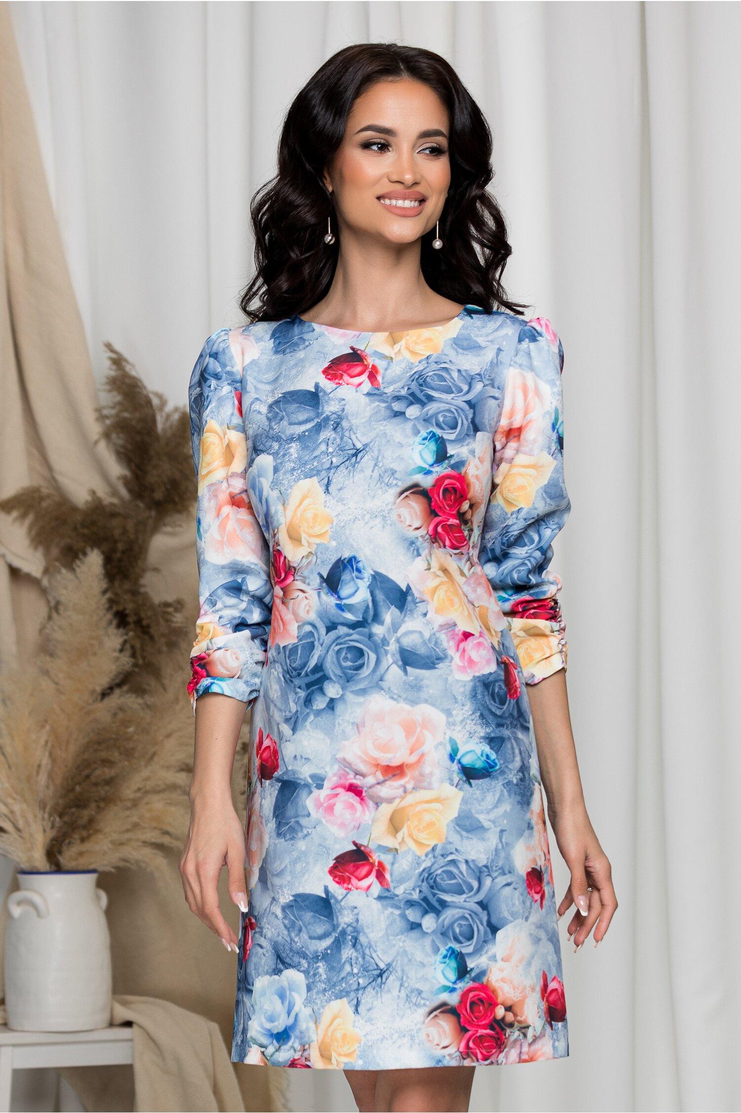 Rochie Adelia bleu cu trandafiri imagine dyfashion.ro 2021