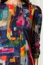Rochie Adelia bleumarin cu imprimeu tip pictura