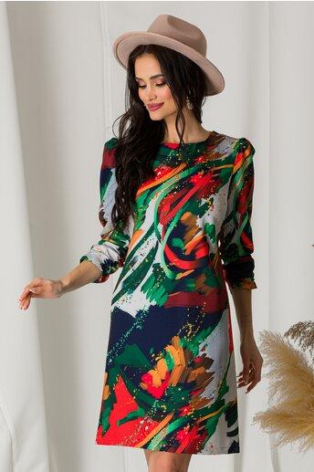 Rochie Adelia cu imprimeuri multicolore