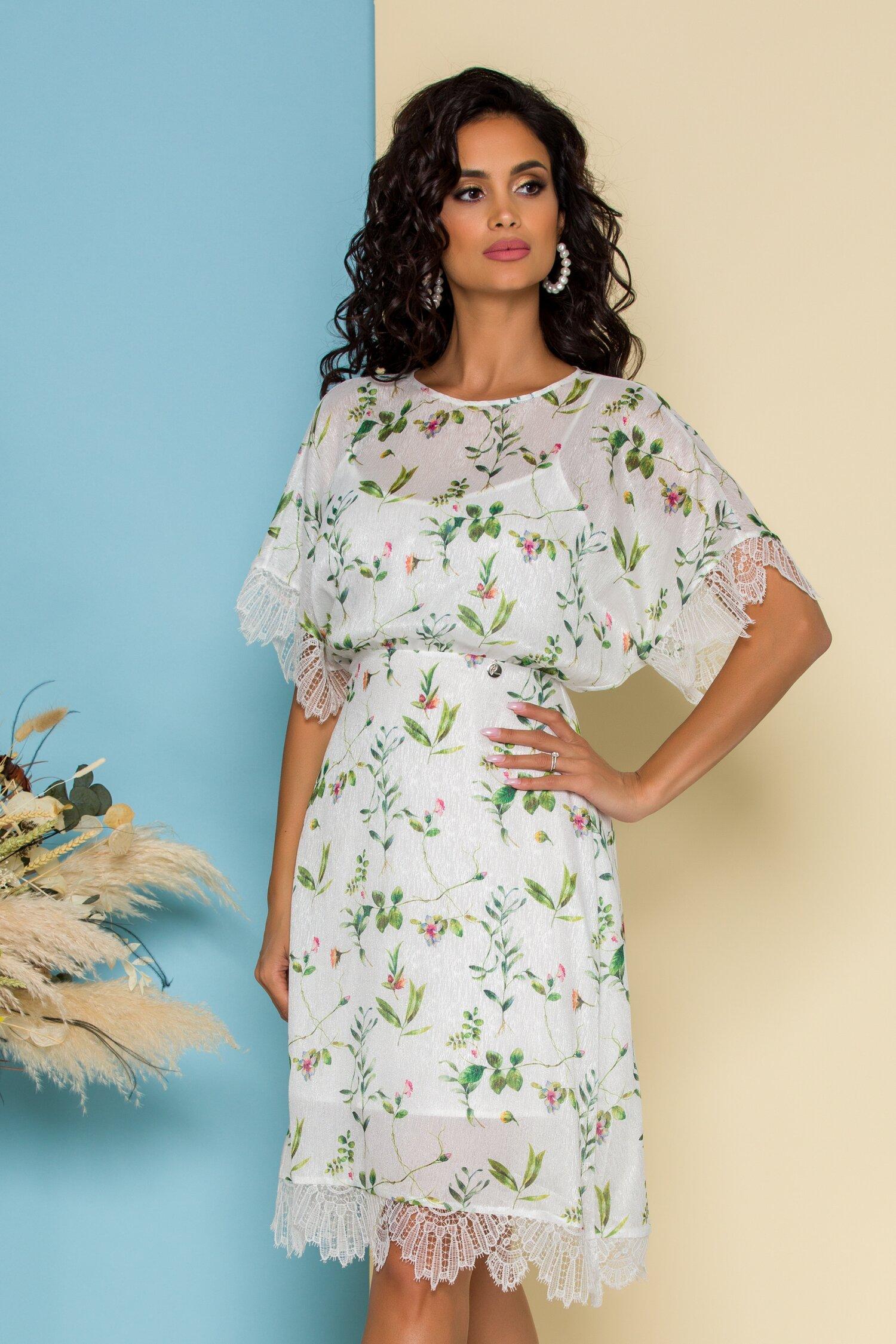Rochie Adelina alba cu imprimeuri florale verzi