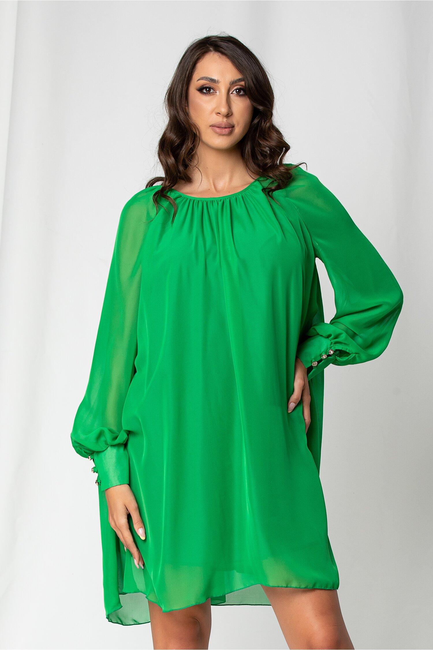 Rochie Adelina verde cu maneci lungi si croi lejer