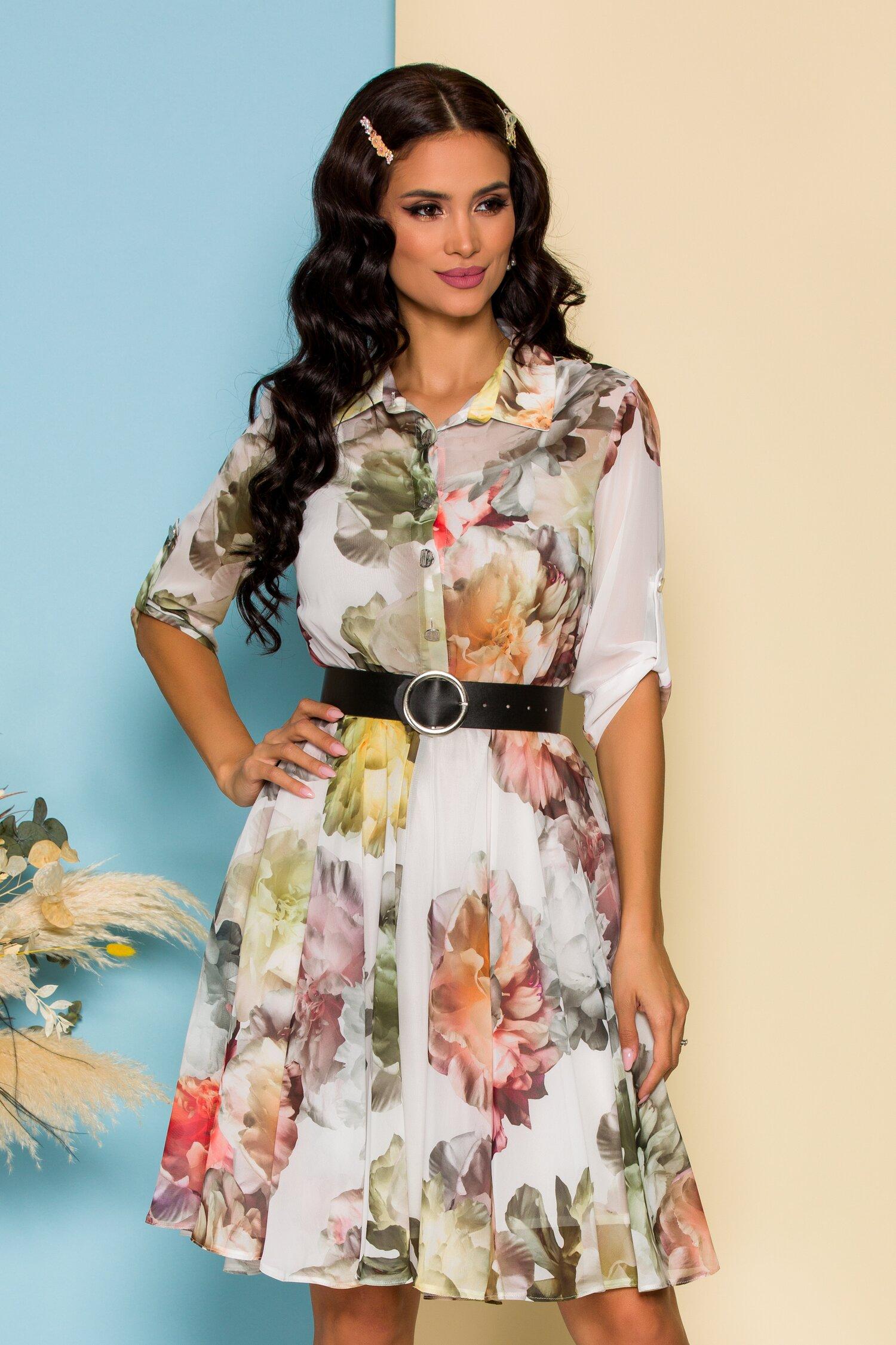 Rochie Adina alba cu imprimeu floral si curea in talie