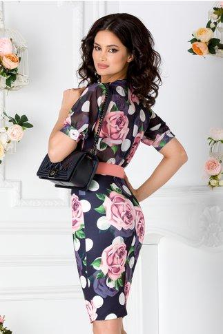 Rochie Adina bleumarin cu imprimeu floral roz si curea in talie