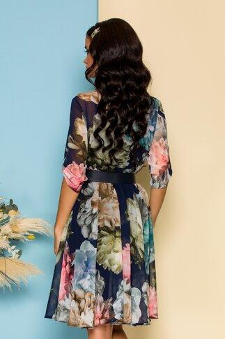 Rochie Adina bleumarin cu imprimeu floral si curea in talie