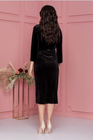Rochie Adina neagra din catifea cu paiete si strasuri