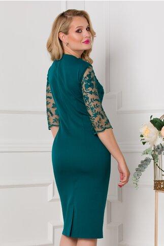 Rochie Adina verde smarald cu tull brodat