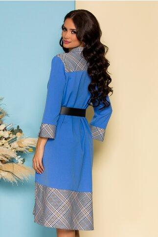 Rochie Adri bleu in clos cu imprimeu picior de cocos