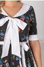 Rochie Adriana neagra cu guler tip esarfa si imprimeu floral