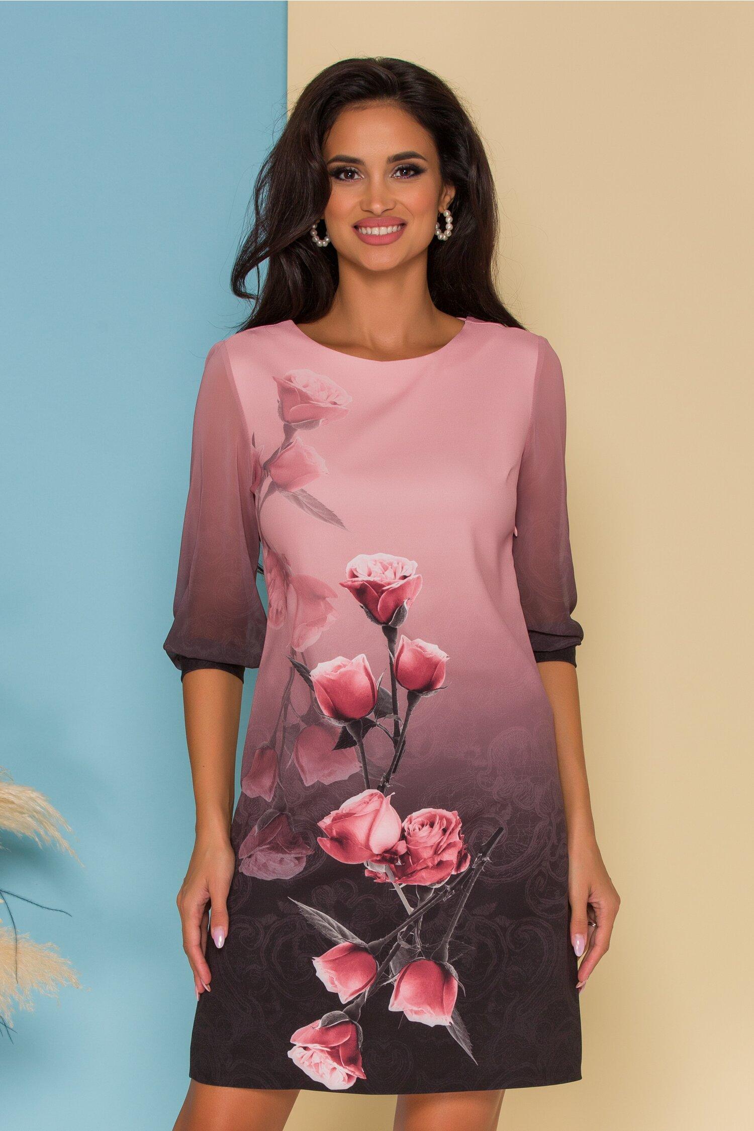 Rochie Adriana roz cu imprimeu in degrade si trandafiri
