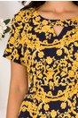 Rochie Adriela bleumarin cu imprimeu galben si fundita in zona decolteului